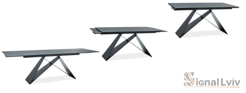 Стол обеденный Signal WESTIN II 160 раскладной (черный/каменный эффект/черный матовый)