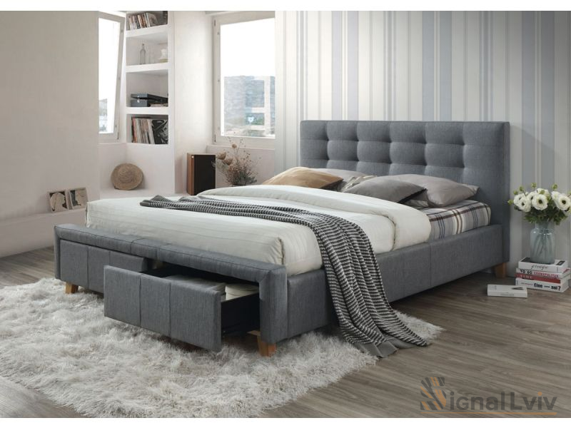 Кровать Signal Ascot | 160X200 / Серый / Дуб