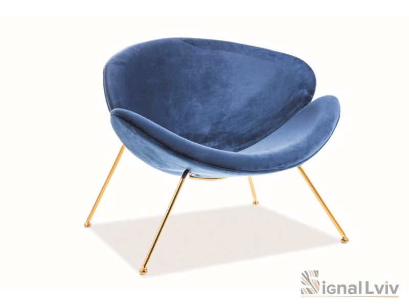 Кресло Major Velvet Signal złoty цвет темно-синий