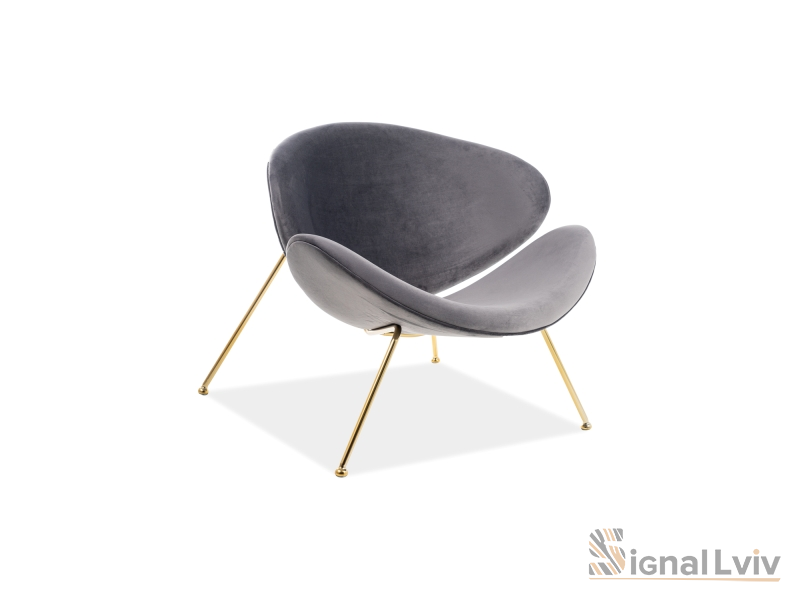 Кресло Major Velvet Signal złoty цвет серый
